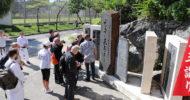 Stone monument of GICHIN FUNAKOSHI at the shrine OKINOGU